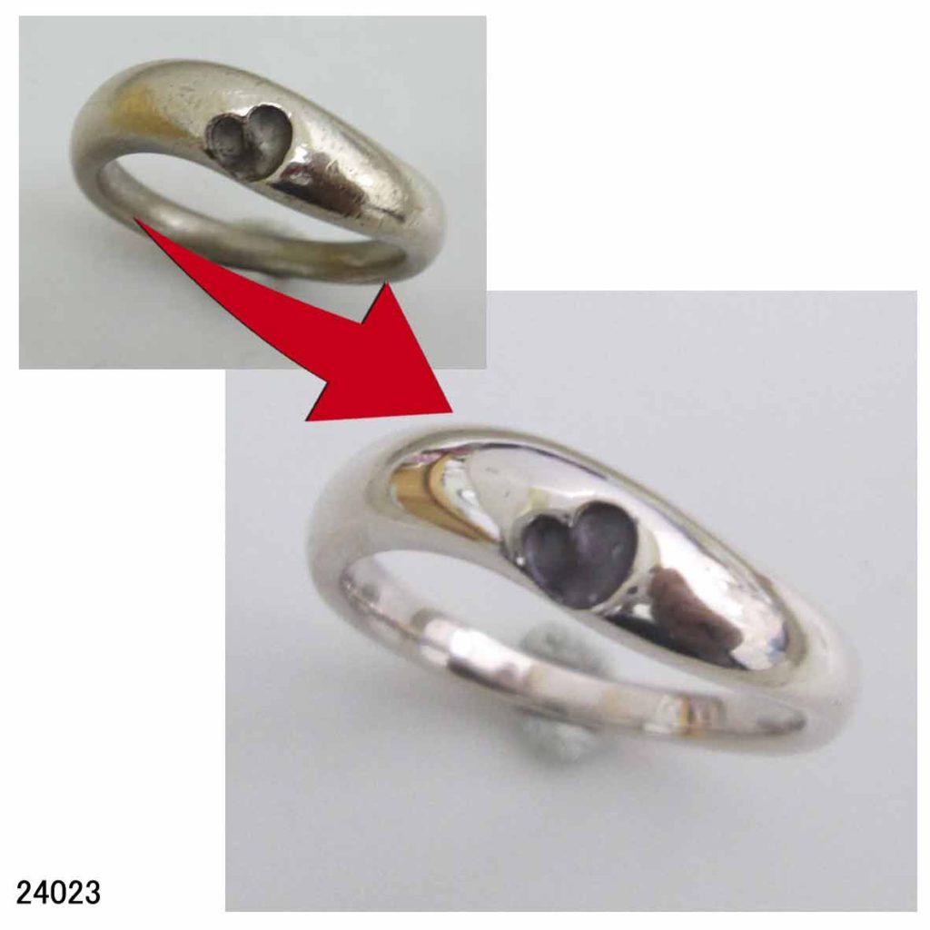 24023ピンクシルバー指輪サイズ直し