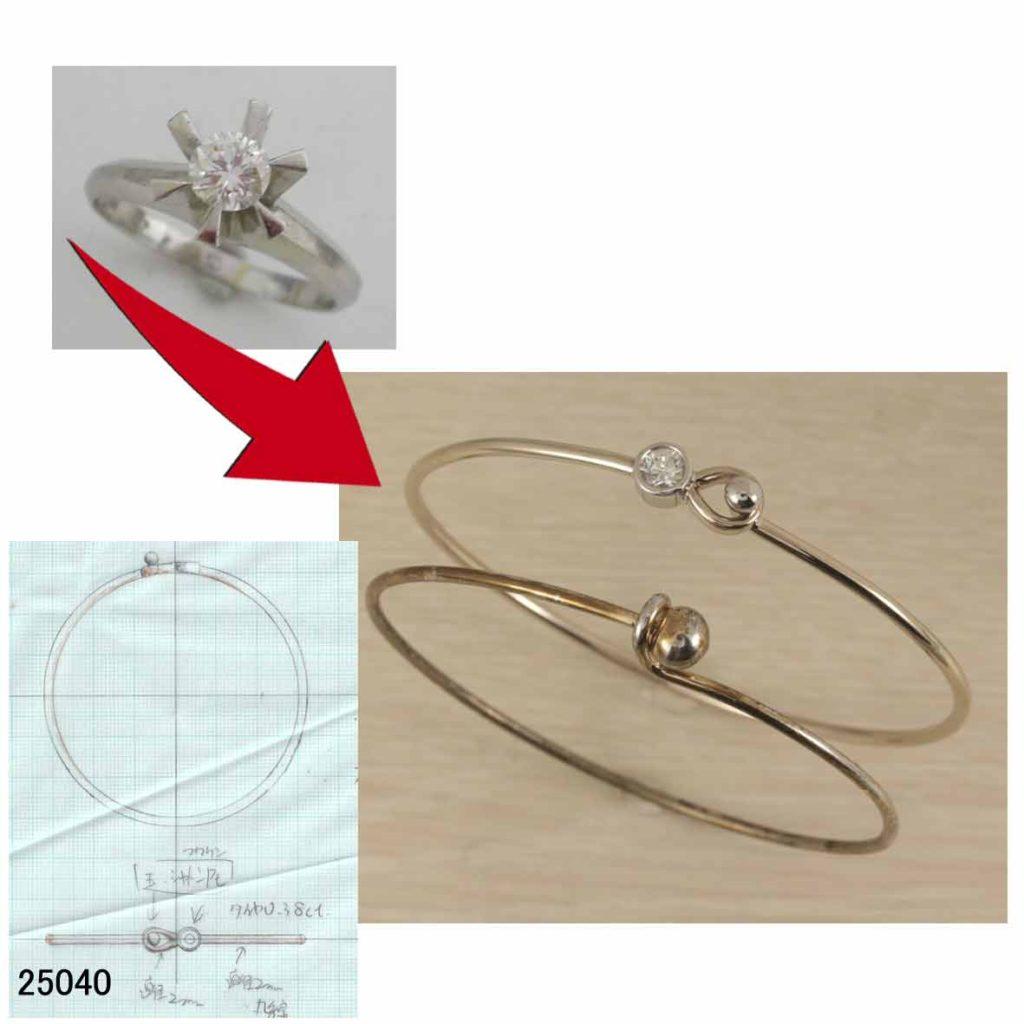 25040ダイヤモンドシャンパンゴールドバングルオーダーリフォーム