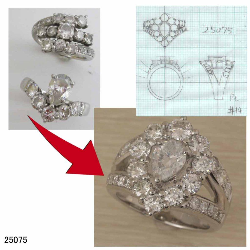 25075ダイヤリングオーダーリフォーム
