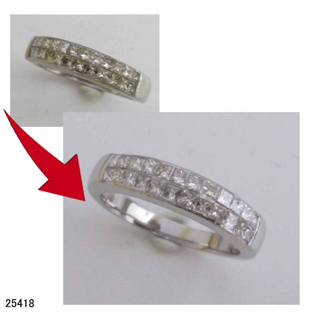 25418プラチナミステリーセッティングダイヤリングサイズ直し