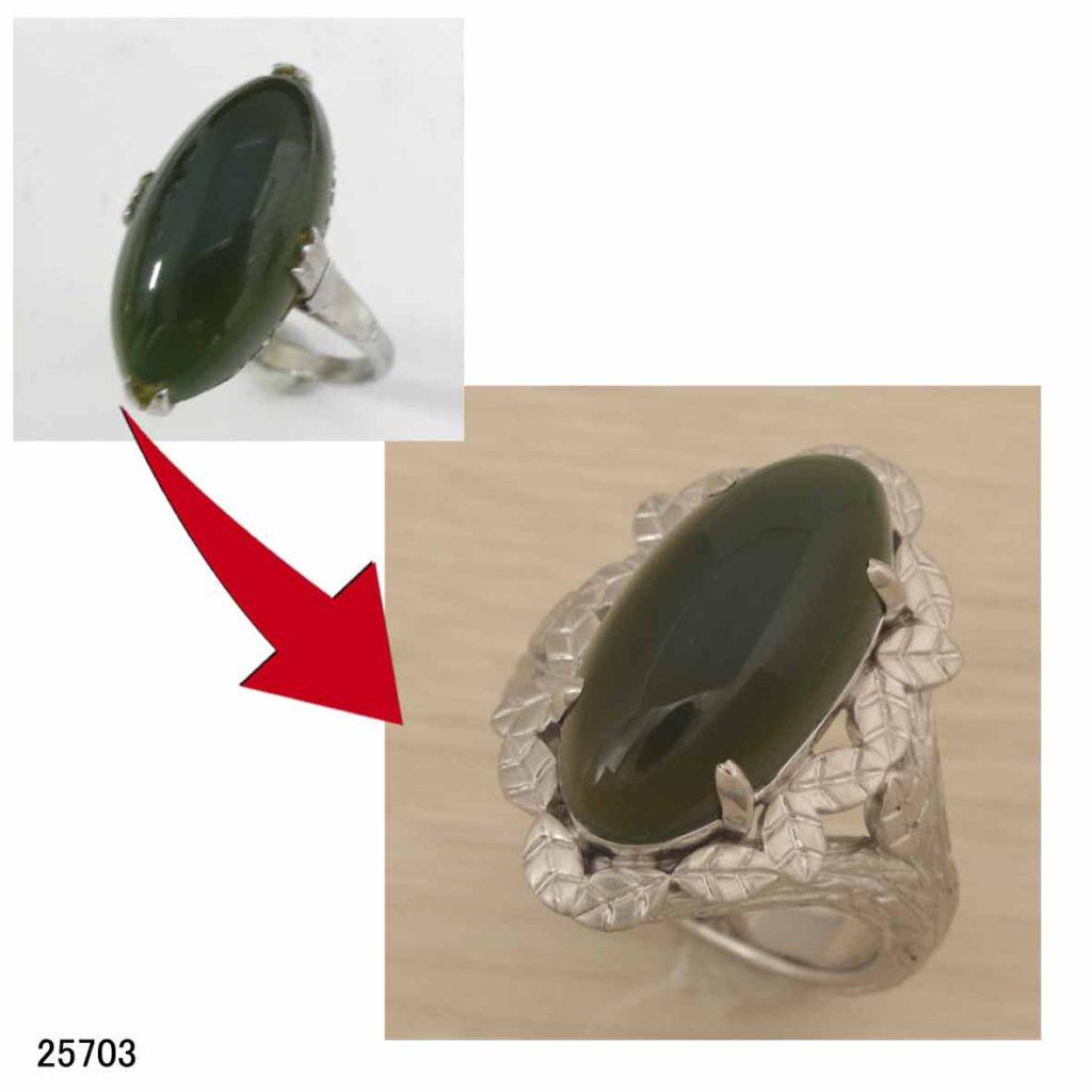 25703プラチナ緑石リングオーダーリフォーム