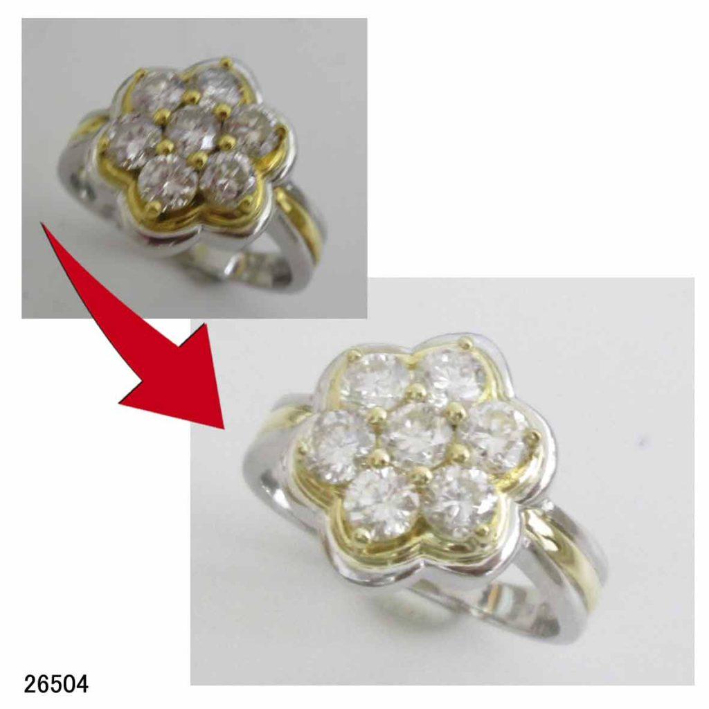 26504プラチナ18金ダイヤリングサイズ直し